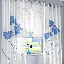 Souarts Blau Stickerei Transparent Gardine Vorhang Schlaufenschal Deko für Wohnzimmer Schlafzimmer Studierzimmer 150cmx175cm Nur Ein Schlaufenschal Ohne Raffgardinen