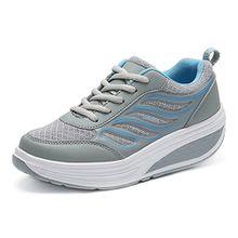 SAGUARO Keilabsatz Plateau Sneaker Mesh Erhöhte Schnürer Sportschuhe Laufschuhe Freizeitschuhe für Damen Grau Blau 37 EU