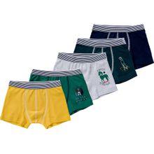 PETIT BATEAU Boxershorts 5er-Pack blau / gelb / grau / grün