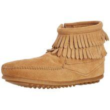 Minnetonka Double Fringe Side Zip Mädchen Kurzschaft Mokassin Boots, Beige (Taupe/TPE), 32 EU
