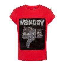 NAME IT T-Shirt rot / schwarz / silber