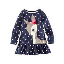 HUIHUI Kleid Mädchen, Toddler Mädchen Kleid Langarm Deer Punkt Drucken Party Prinzessin Dress Casual T-shirt Kleid Frühlings Herbst Cocktailkleid Sommerkleider (120 (4-5Jahre), Dunkelblau)