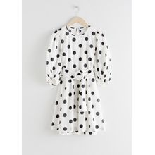 Belted Polka Dot Mini Dress - Black