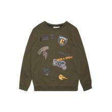 NAME IT Sweatshirt 'Vildar' gelb / oliv / schwarz / weiß