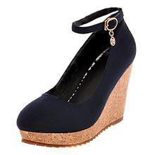 AIYOUMEI Keilabsatz Pumps mit Schnalle Plateau High Heels Damen Knöchelriemchen Pumps Bequem Schuhe