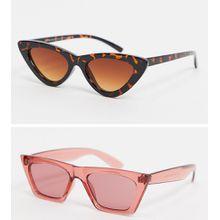 SVNX – Katzenaugensonnenbrille mit flachem Brauensteg im 2er-Pack-Mehrfarbig