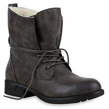 Stiefelparadies Damen Worker Boots Warm Gefüttert mit Blockabsatz Schuhe 124791 Grau 36 Flandell