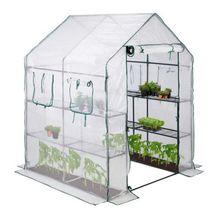 Gewächshaus begehbar mit 4 Fenstern grün/weiß