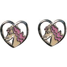 Ohrstecker Pferd Mädchen rosa/weiß  Kinder