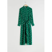 Polka Dot Waist Tie Midi Dress - Green