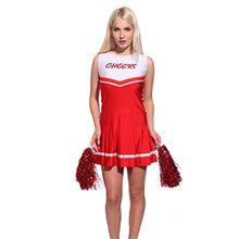 RichDeer Cheerleader Kostuem Uniform Cheerleading Cheer Leader mit 2 Pompons Minirock Damen Maedchen Karneval Fasching cheers pattern