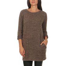 malito Damen langer Pullover aus Strick | basic Longsleeve | Strickkleid aus Feinstrick - Rundhals - Oberteil - 1738 (fango)