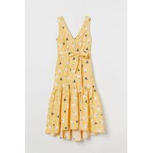 H & M - Kleid mit V-Ausschnitt - Yellow - Damen