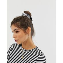 ASOS DESIGN - Gepunktetes Haargummi mit Rüschen - Cremeweiß