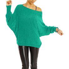 Bestyledberlin Damen Pullover, Strick Pulli t35p, Grün, Gr. One Size (S/M)