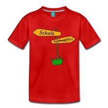 Spreadshirt Einschulung Schulanfang Wegweiser Kinder Premium T-Shirt, 122/128 (6 Jahre), Rot