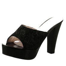 AIYOUMEI Damen Peep Toe Blockabsatz Heel Plateau Pantoletten mit Glitzer und Spitz Bequem Modern Sandalen Schuhe