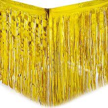 Yalulu 2 Stück Dressing Tischrock Tisch Gold Silber Lametta Vorhänge Tisch Roecke Fadenvorhang Glittervorhang Party Hochzeit Dekoration Deko (Gold)