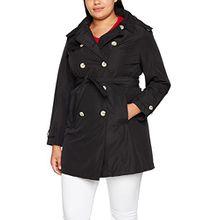 Ulla Popken Große Größen Damen Mantel Wetter Trenchcoat Schwarz (Schwarz 10), 46 (Herstellergröße: 46+)