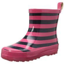 Playshoes Ringel nieder 180365, Unisex-Kinder Kurzschaft Gummistiefel mit Reflektoren, Pink (marine/pink 372), 25 EU