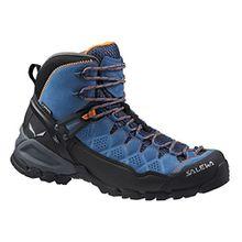 Salewa Alp Trainer Mid Gore-Tex - HALBHOHER Bergschuh Damen, Damen Trekking- & Wanderstiefel, Blau (Washed Denim/Carrot 8619), 42 EU (8 Damen UK)