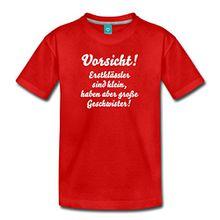 Spreadshirt Schulkind Geschwister Erstklässler Kinder Premium T-Shirt, 134/140 (8 Jahre), Rot