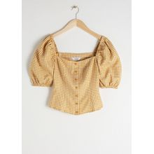 Linen Puff Sleeve Gingham Top - Yellow