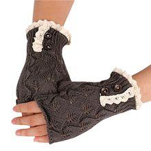 Bluelans® Armstulpen Pulswärmer fingerlos Handschuhe Damenhandschuhe Winterhandschuhe Fäustlinge Fausthandschuhe (Dunkelgrau)