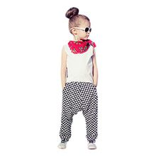 Sannysis Mädchen Outfit Kleidung Weste Hemd Tops + Plaid Haremshosen (100, Weiß)