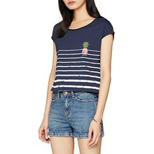 edc by ESPRIT Damen T-Shirt 058CC1K100, Blau (Navy 400), Small