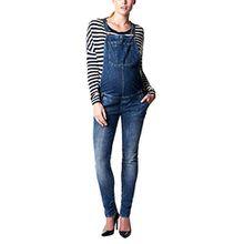 Noppies Damen Latz Umstands Jeans salopette Ava, Gr. W30, Blau (Dark Stone Wash C296)