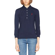 Polo Ralph Lauren Damen Bluse 3/4 Jul Polo-3/4 Sleeve-Knit, Blau (Cruise Navy Xwadi), Medium