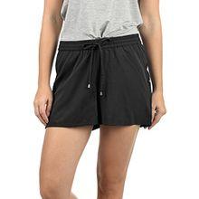 Blend She Amal Damen Chino Shorts Bermuda Kurze Hose Mit Print Und Kordel Loose Fit, Größe:M, Farbe:Black Solid (20101)