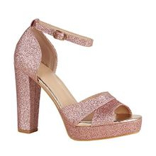 Damen Schuhe Plateausandaletten Party Puschel Block Absatz 156142 Rose Gold Berkley Glitzer 38 Flandell
