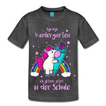 Spreadshirt Einschulung Einhorn Bye Kindergarten Kinder Premium T-Shirt, 122/128 (6 Jahre), Anthrazit