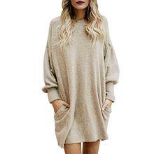 Damen Tasche Langer Pullover Langer beiläufiger Mini Abendkleid für Frauen,FRIENDGG Mädchen Beiläufig Elegante Herbst Winter Frühling Mode Party Rock Kleid,Weihnachtsgeschenke für Frauen (Beige, XL)