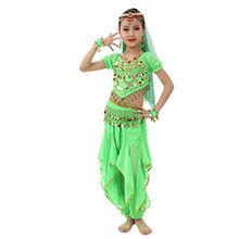 Tanz Outfit, FEITONG Kinder Bauchtanz Kostüme Bauchtanz Ägypten Tanz Tuch (L, Grün)