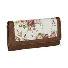 SIX Sommer Damen Portemonnaie, Geldbörse, mit Blumenmuster und braun/rötlicher Lederoptik (703-292)