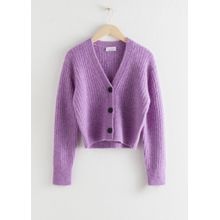 Wool Blend Cardigan - Purple