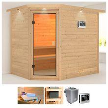 KARIBU Sauna »Tanami«, 259x210x205 cm, 9 kW Bio-Ofen mit ext. Steuerung, Dachkranz