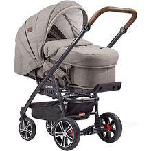 Kombi Kinderwagen F4 Air+ inkl. C2 Komptakt-Tragetasche, Gestell schwarz/tabak, stein meliert / Tupfen grau