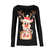 Damen Weihnachten T-shirt Damen Rentier Candy Klebe Langärmeliges Jersey Weihnachten Top - Rentier Glocken Schwarz, 48-50