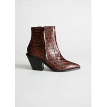 Leather Cowboy Ankle Boots - Orange