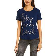 Street One Damen T-Shirt 311641, Blau (Evening Blue 21151), 42