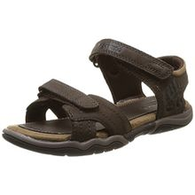 Timberland Active Casual Sandal_Oak Bluffs Leather 2Strap, Unisex-Kinder Sandalen, Braun (Dark Brown), 34 EU