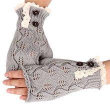 Bluelans® Armstulpen Pulswärmer fingerlos Handschuhe Damenhandschuhe Winterhandschuhe Fäustlinge Fausthandschuhe (Hellgrau)