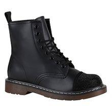 Stiefelparadies Coole Worker Boots Kinder Outdoor Stiefeletten Profil Sohle Schuhe 148810 Schwarz Strass Camargo 38 Flandell