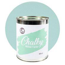 Laurenz+Morgan GmbH Chalky Möbelfarbe 1Liter/1,35Kg (Mint) - - - voll deckende Kreidefarbe für Shabby Chic Vintage und Landhaus Stil. Upcycling Farbe