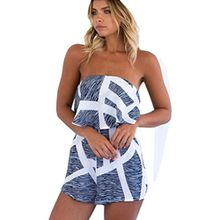 Internet Damen Jumpsuit Sommer Strand Blumendrucke Overall Bodycon Spielanzug (M, Grau)