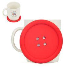 SODIAL(R) grossen Knopf-Silikon-Coaster-Spass Neuheit Design Kitsch Retro Getraenke Tischset - rot
